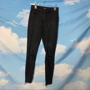 Zara- Black Skinny High Rise Jeans Raw Hem size 4